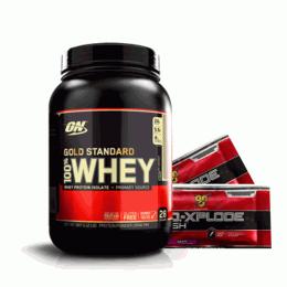 100% Whey Protein Gold Standard (909g) + 2 NO-Xplode Dose Única (9.5g)